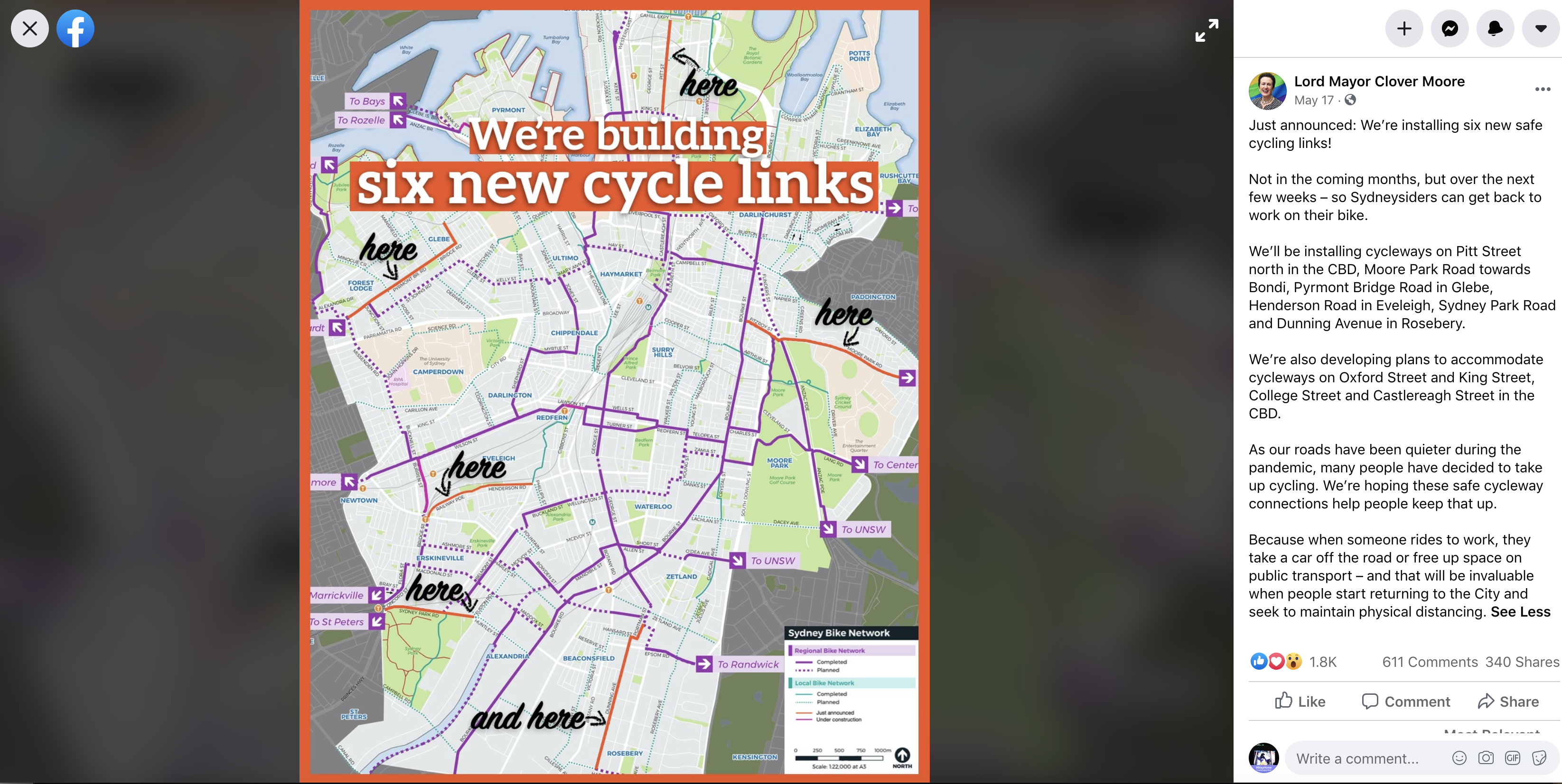 A Facebook post on May 17 shows six new cycleways Sydney is building immediately during the COVID-19 crisis in response to the increase in cyclists.