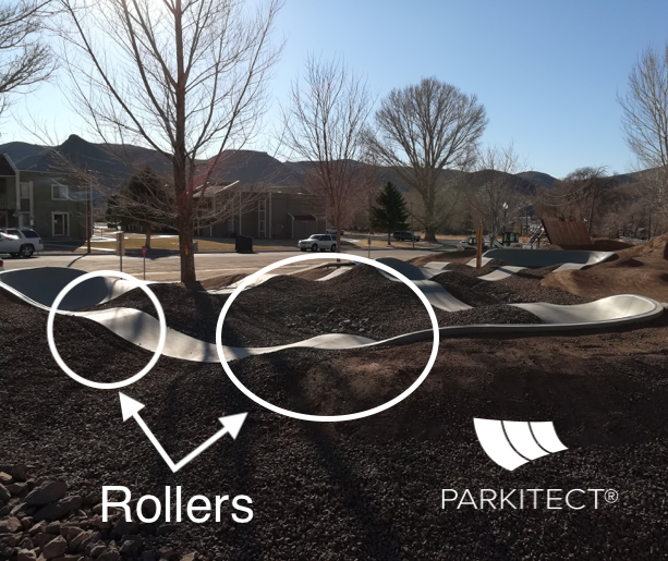 A PARKITECT modular pumptrack made of pre-cast concrete incorporated into the landscape. The rollers are the bumps in the track.