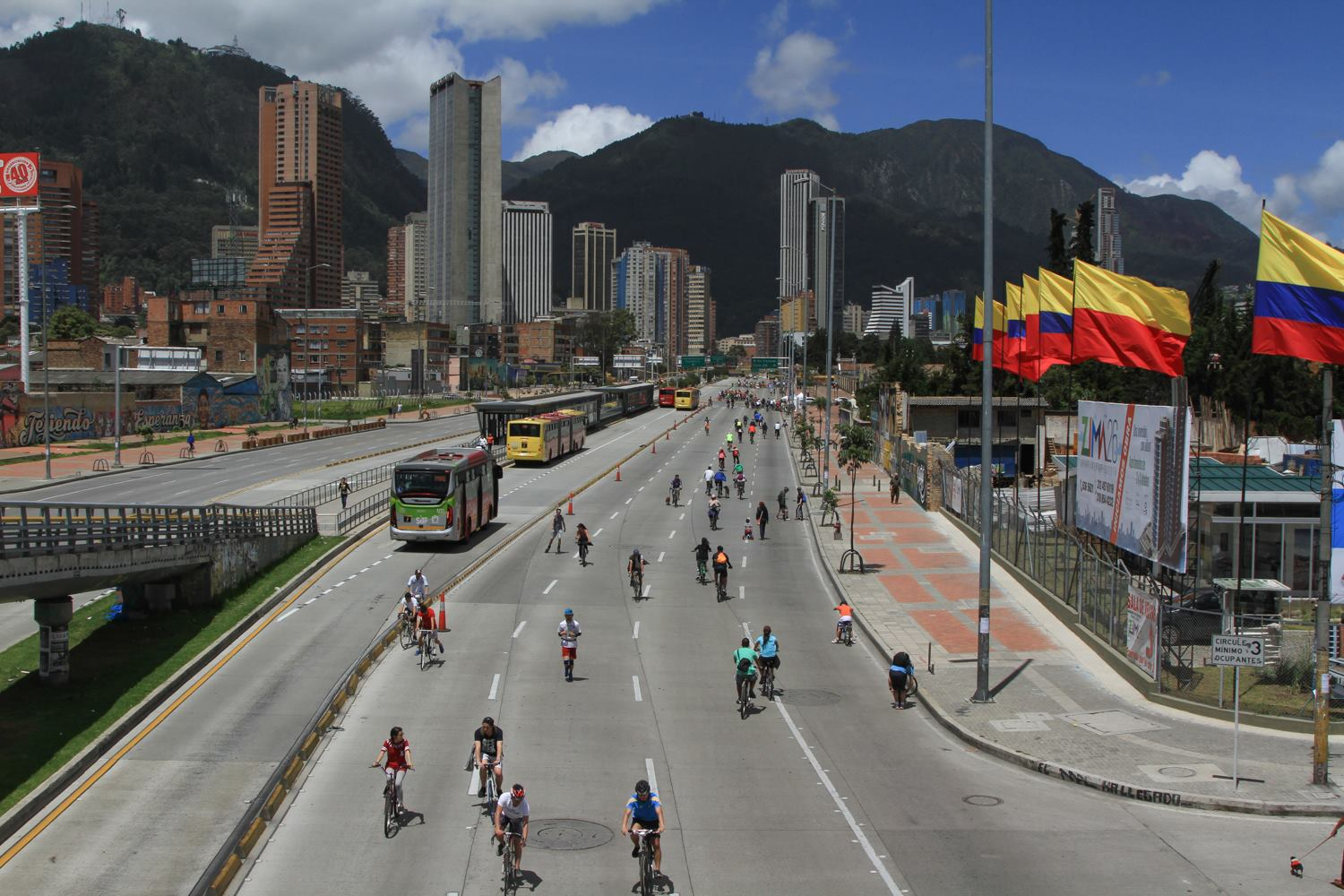 A bike commuters dream- La Ciclovia in Bogota is a popular highway open for cyclists on Sundays since 1974, but during the pandemic has been opened for cyclists every day.