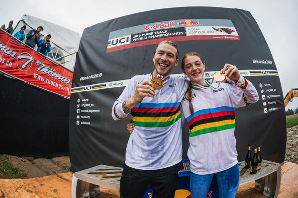 A sweep for the USA Tommy Zula and Payton Ridenour in their rainbow jerseys are the UCI Redbull Pump Track World Champions for 2019.