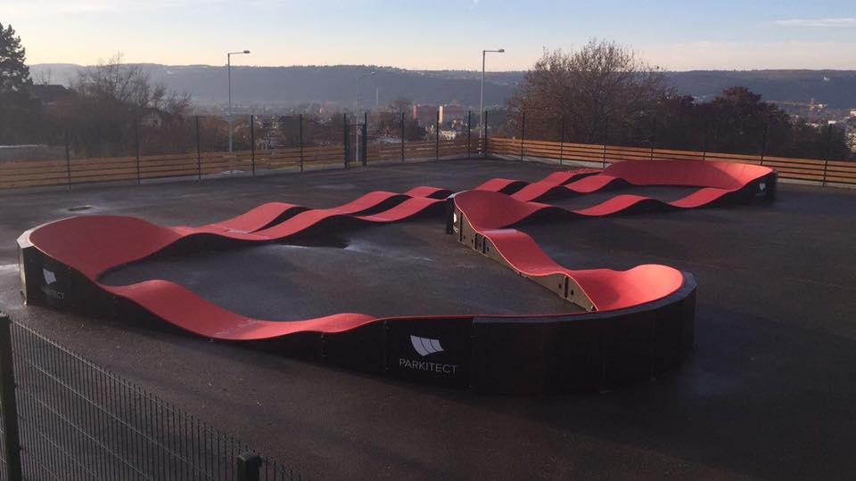 PARKITECT modular pumptracks are a great option for any under-used, flat surface, like this space in Prague, Czech Republic.