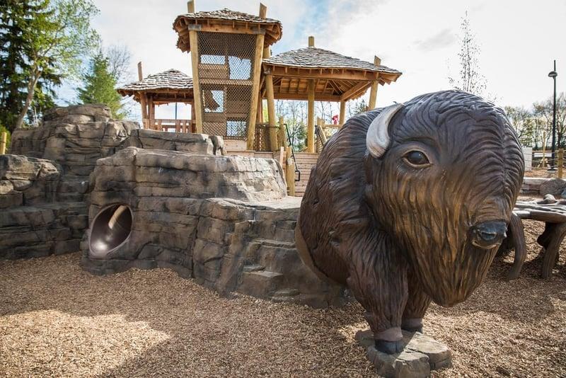 Bison's Bluff Park is a natural playground in Schaumburg, Illinois.