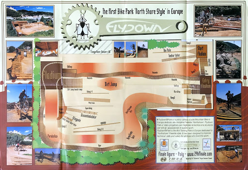 Brochure for Flydown Park, the fist North Shore Style bike park in Europe.