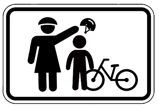Mom-putting-a-helmet-on-a-kid-safety-sign