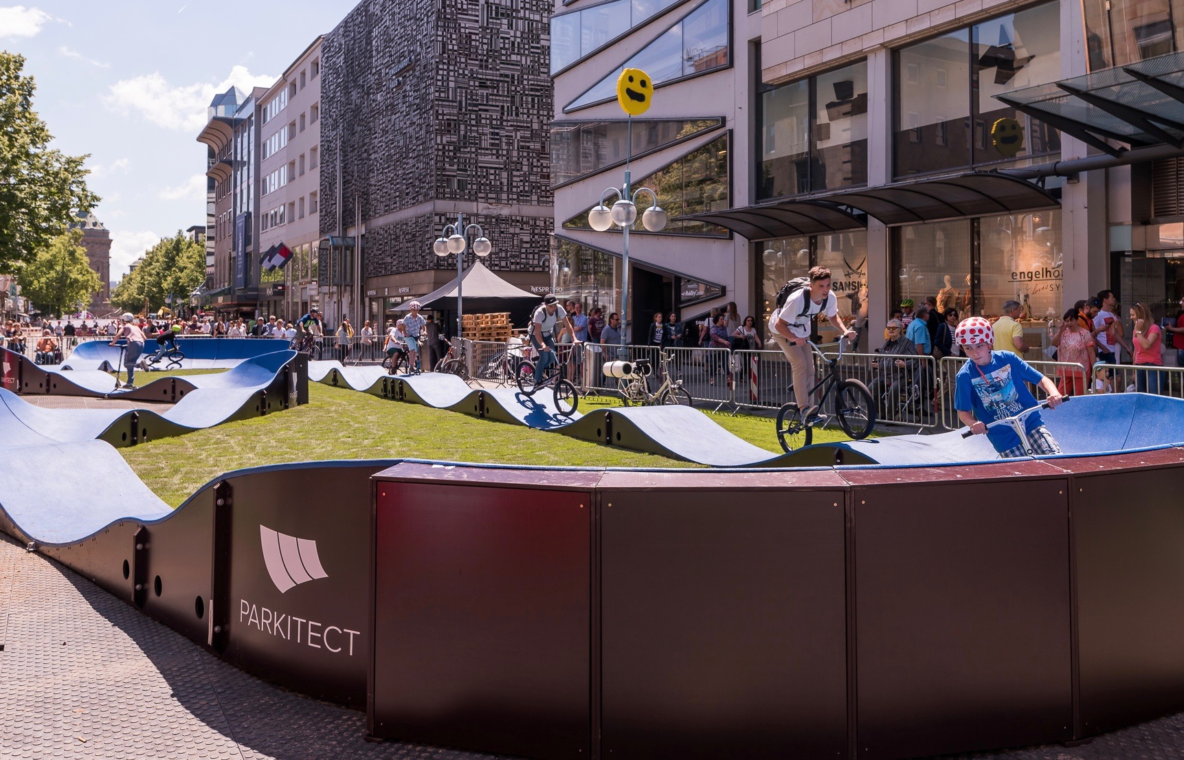 A PARKITECT modular pumptrack brings the party to the center of town in Manheim, Germany