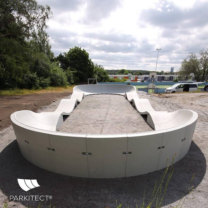 PARKITECT modular pumptrack made of precast concrete in Sweden.
