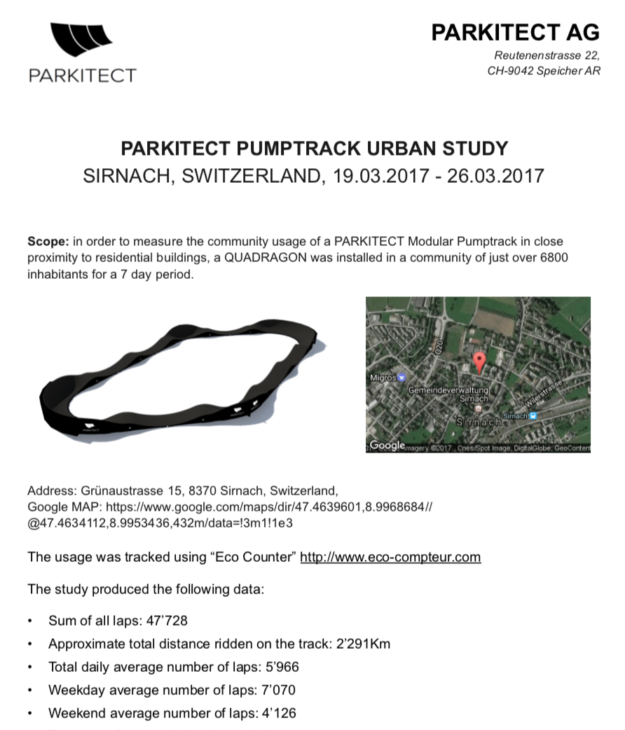 PARKITECTs study of pumptrack useage in Switzerland
