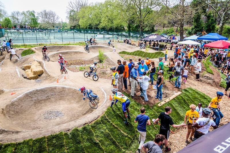 Patrons and spectators at the Philly Pumptrack. Photo courtesy of Philly Pumptrack