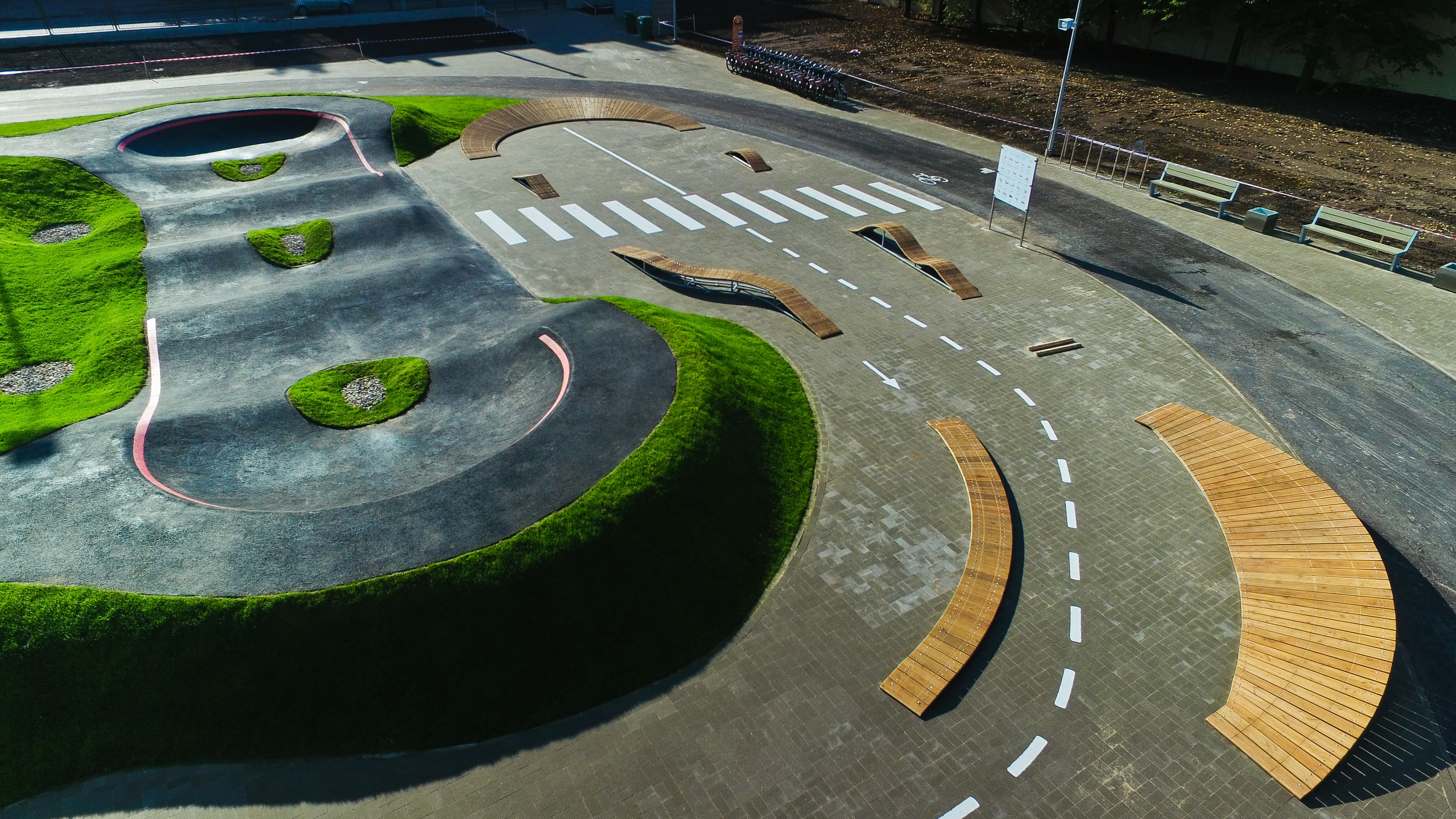 The wooden adventure skills track in Riga, Latvias central sport square is ideal for novices