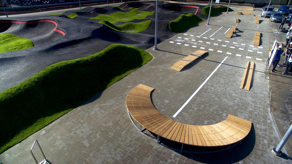 The wooden skills course next to the pumptrack at center sports square Riga, Latvia
