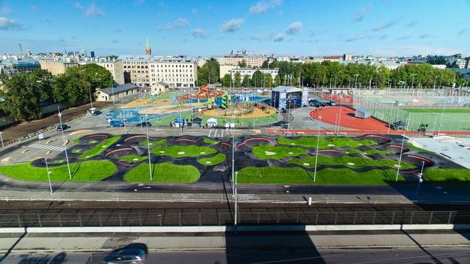 Velosolutions asphault pumptrack at Rigas Central Sport Square
